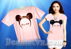Phong cách trẻ trung cá tính với áo thun nữ hoạ tiết hình chuột Mickey form dài, vạt ngang giá 160.000đ giảm còn 45.000đ, Chỉ có tại Dealhotvn.com!
