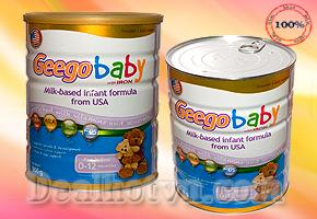 Vui sướng nào bằng khi nhìn thấy đứa con mình ngày càng mạnh khỏe, năng động với Sữa Geego Baby dành cho trẻ từ 0 -12 tháng 900gr- Nhập khẩu từ Mỹ, Giá 480.000đ giảm giá còn 150.000đ. Chỉ có tại Dealhotvn.com!