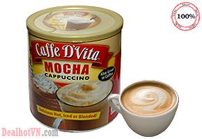 Thưởng thức cốc cà phê mỗi ngày thật sản khoái với mùi vị đậm đà, đánh thức sự mệt mõi, căng thẳng, giúp bạn làm việc tốt với Caffe D'Vita Mocha Cappuccino 1,8kg giảm giá còn 420.000đ.