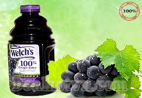 Bổ sung trái cây cho mọi thành viên trong gia đình bằng nước nho nguyên chất 100% Welch's - hàng nhập khẩu từ Mỹ 1,9 lít với chất lượng nho đen hảo hạng, không chất bảo quản, không chất tạo màu. Giá 120.000đ/ bình.