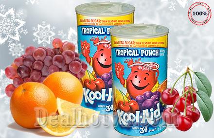 Giải khát, thanh nhiệt với nước trái cây nhiệt đới Kool – Aid 2,33kg nhập khẩu trực tiếp từ Mỹ, là nguồn cung cấp chất chống Oxy hóa, vitamin E, giảm giá chỏ còn 295.000đ.