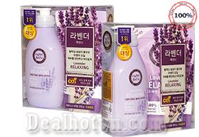 Bộ Sữa tắm Happy Bath Lavender Relaxing – hàng nhập khẩu từ Korea nhẹ nhàng làm sạch mọi lớp bụi bẩn, đồng thời giữ ẩm cho da nhờ dưỡng chất Olive, Tinh dầu Oải Hương tinh khiết cho bạn cảm giác thư giãn dịu nhẹ, giúp rũ bỏ mọi căng thẳng cuộc sống, giảm giá 195.000đ.