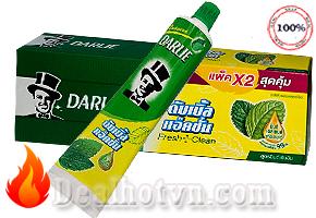 Combo 2 tuýp Kem đánh răng Darlie tây đen – Thái Lan chứa tinh chất polyphenol từ trà xanh thiên nhiên giúp răng chắc khỏe, tái khoáng hóa men răng, ngăn chặn sâu răng hơi thở thơm tho. Giảm giá còn 89.000đ.