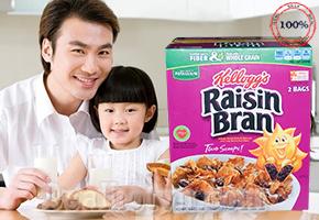 Bánh ngũ cốc ăn sáng Kellogg's Raisin Bran 2,1kg. Thực phẩm dinh dưỡng cho bé đến từ Mỹ. Giá chỉ 290.000đ.