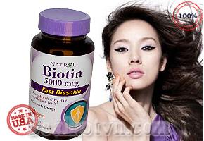 Viên uống mọc tóc Natrol Biotin 5000mcg Fast Dissolve hộp 250 viên hỗ trợ bổ sung Biotin điều trị tóc gãy rụng nhiều, móng tay khô cứng, giòn dễ gãy, biếng ăn, viêm da, viêm màng kết, thúc đẩy tóc mọc dài đẹp. Giá 315.000đ.