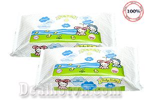 An toàn, sạch sẽ và không làm khô da của bạn với COMBO 03 GÓI KHĂN GIẤY ƯỚT CAO CẤP BABY KITTY ( 2 x 72 miếng) - Hàng nhập từ Italy. Giá bán 85.000đ.