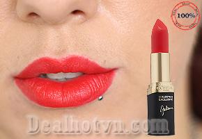 Son môi L'oréal Colour Riche Collection Exclusive Julianne's Red - Dòng son lì màu đỏ son ánh san hô với lớp phủ bóng nhẹ, khi thoa lên tạo cảm giác ửng hồng cho gương mặt là vật dụng không thể thiếu trong túi xách của các cô nàng sành điệu. Chỉ 199.000đ cho trị giá 320.000đ.