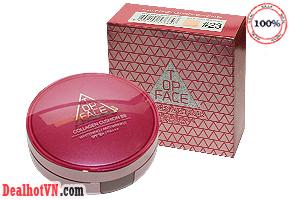 Phấn nước Collagen Cushion BB Topface hàng chính hãng Korea. Là phấn nước trang điểm thế hệ mới của TopFace, với lớp nền mỏng nhẹ tự nhiên có độ che phủ hoàn hảo, không chảy, không đổ bóng cho bạn tự tin suốt cả ngày dài. Giá 250.000đ.
