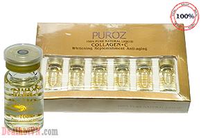 Trị mụn xóa thâm triệt để với sirum Collagen + C thương hiệu Puroz  chính hãng Pháp. Ngoài ra tinh chất sirum còn giúp chống nhăn, chống lão hóa đồng thời bổ sung và duy trì độ ẩm cho da, cung cấp dinh dưỡng cho da. Giá 750.000đ.
