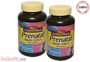Thuốc bổ Nature Made Prenatal Multi + DHA hàng nhập từ Mỹ được tổng hợp từ 23 vitamin và khoáng chất quan trọng, cùng với axit béo Omega-3 cần thiết để giúp bạn và bé yêu khỏe mạnh trong suốt thời gian thai kỳ. Giá 499.000đ