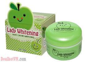 Kem body cốt táo Lady Whitening 250gr là một trong những dòng kem body cốt được làm bằng những nguyên liệu tự nhiên có công dụng chăm sóc trắng da cực tốt và khá tốt cho làn da chị em. Giá 70.000đ.