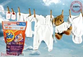 Viên giặt dạng viên Tide Pods hàng chính hãng Mỹ sẽ giúp đánh bật vết bẩn và làm trắng vượt trội. Viên giặt Tide Pods sẽ đem lại hiệu quả bất ngờ với chỉ 1 viên nước giặt bé nhỏ cho mỗi lần giặt. Giá 270.000đ