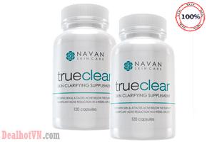 Thuốc uống trị và ngăn ngừa mụn Navan Skin Care True Clear hàng chính hãng Mỹ. Hỗ trợ điều trị mụn trứng cá, mụn nhọt, mụn bọc, mẩn ngứa, dị ứng, rối loạn chức năng gan. Hổ trợ giảm vết sẹo, vết thâm trên da mụn, ngăn ngừa mụn tái phát. Giá 810.000đ.