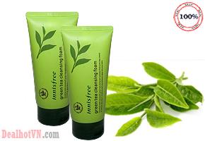 Sữa rửa mặt Innisfree Green Tea Pure Cleansing Foam chính hãng Hàn Quốc chiết xuất  từ lá trà xanh tự nhiên, giàu độ ẩm, chống oxi hoá, hút nhờn và ngăn ngừa những dấu hiệu làm lão hoá da. Chỉ 45.000đ cho trị giá 120.000đ.