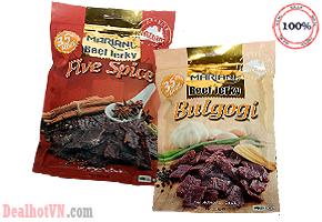 Thịt bò khô Mariani Bulgogi & Five Spice 350gr hàng nhập từ Úc món quà không thể thiếu trong dịp tiếp khách đầu xuân. Giá 370.000đ.