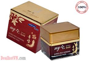 Mặt nạ ngủ hồng sâm My Jin Gold Korea Red Ginseng Sleeping Pack 50ml hàng chính hãng Hàn Quốc. Giúp dưỡng ẩm, chống lão hóa tái tạo sức sống mới cho làn da. Giá 190.000đ.