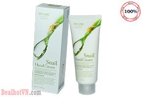 Kem dưỡng da tay Snail Hand Cream- 3W Clinic Chiết xuất từ tinh dịch Ốc Sên và các khoáng chất thiên nhiên, giúp cho đôi tay luôn mềm mịn. Chỉ 68.000đ.