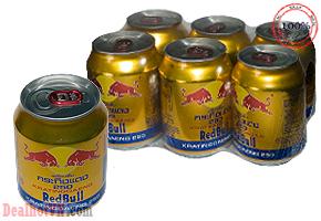 Nước uống tăng lực Bò húc Redbull hàng nhập từ Thái Lan. Giá 13.000đ/lon 250ml