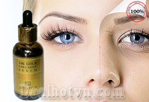 Serum dưỡng ẩm chống lão hóa da bổ sung dưỡng chất 24k Gold Collagen của thương hiệu Eco Top 50ml hàng xách tay Hàn Quốc. Giá 220.000đ