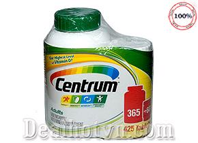 Thuốc Bổ Centrum Multivitamin Adults 365 viên + 60 viên có tác dụng tăng cường và bảo vệ sức khoẻ, tăng sức đề kháng, cung cấp các dưỡng chất cần thiết phục hồi cơ thể. Sản phẩm dùng cho cả nam và nữ dưới 50 tuổi. Giá 620.000đ