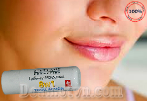 Son dưỡng môi Eveline 8in1 Total Action Lips Concentrated hàng nhập từ Nga giúp đôi môi luôn mịn màng tươi trẻ. Giá 60.000đ. Dealhotvn giao hàng tận nơi.