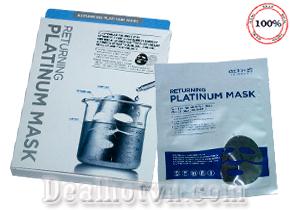 Mặt Nạ Thần Thánh Returning Platinum Mask – hàng chính hãng Hàn Quốc bao gồm 4 miếng với hiệu quả cực kỳ tối ưu giúp da trắng sáng, xóa nếp nhăn, đào thải độc tố và kim loại… mang đến cho bạn làn da căng bóng, mịn màng. Giá 210.000đ