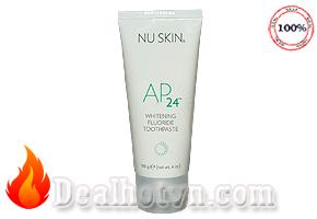 Kem đánh răng trắng sáng AP24 whiteing flouride toothpaste hàng nhập từ Mỹ giúp loại bỏ mảng bám trên răng, loại bỏ vi khuẩn, bảo vệ men răng.. hương bạc hà thơm mát. Giá 215.000đ