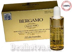 Serum Bergamo Luxury Gold Collagen & Caviar (Hộp nhỏ 4 Chai) hàng chính hãng Hàn Quốc. Giúp điều trị mụn, se khít lỗ chân lông, trắng da, chống lão hóa da, xóa nếp nhăn. Giá 220.000đ.