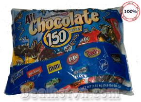 Kẹo Chocolate tổng hợp 150 viên 2.55kg nhập khẩu từ  Mỹ. Giá 620.000đ giao hàng tận nơi.