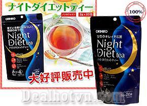 Trà giảm cân Orihiro Night Diet tea nhập khẩu từ Nhật Bản không chứa cafein mà chứa những thảo dược có tác dụng đốt cháy mỡ thừa, an thần, giúp ngủ ngon hơn, sâu hơn. Giá 240.000đ