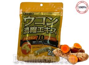 Tinh bột nghệ Orihiro bịch 20 gói nhập từ Nhật Bản tác dụng giải rượu, giải độc & bảo vệ gan trước rượu bia, giảm sức ép cho gan, điều hòa thần kinh không bị kích thích quá mức với cồn, rượu bia. Giá 195.000đ