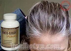 Viên uống trị tóc bạc sớm ANTI GRAY 7050 60 viên hàng nhập khẩu từ Mỹ. Giúp tóc hết bạc và trở nên khỏe hơn. Giá 390.000đ