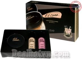 Bộ trang điểm Clio- Korea gồm kem lót và phấn nước + kem nền tạo khối chỉnh sắc với độ che phủ hoàn hảo