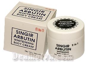 Kem dưỡng kích trắng Singir Arbutin Whitening body Cream 2 in 1 – Hàn Quốc chỉ số chống nắng SPF 50++, giúp da trắng sáng mịn màng tức thì. Giá 80.000đ.