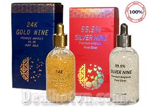 Serum vàng 24K Gold Nine & Silver Nine Premium Ampoule 99,9% chính hãng Hàn Quốc với collagen, peptide và betaglucan giúp phục hồi làn da, tái tạo da căng mịn, trắng hồng rạng rỡ. Giá 790.000đ