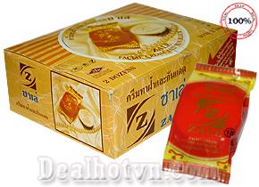 Lố 12 hộp kem làm trắng da mặt, trị nám và tàn nhang thương hiệu nổi tiếng Zale – hàng nhập khẩu từ Thái Lan. Giá 130.000đ/lố.