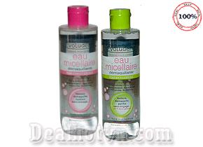 Nước Tẩy Trang Evoluderm Micellar Cleansing Water hàng nhập từ Pháp  giúp làm sạch được các lớp nền trang điểm dày và những loại eyeliner hay mascara cứng đầu nhưng không làm khô hay tổn thương da. Giá 80.000đ