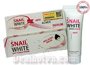 Serum trị mụn Snail White Anti Acnes giúp xóa bỏ mụn và các vết thâm, vết sạm do mụn để lại. Làm liền các loại sẹo, thâm sẹo do mụn gây ra, giúp bạn thật sự tự tin vì có làn da trắng sáng, đẹp không tì vết.Giá 70.000đ