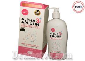 Lotion Sữa Dưỡng Trắng Da Alpha Arbutin 3 Plus+ Collagen 500ml – nhập khẩu từ Thái Lan 500ml mẫu mới năm 2018. Giá 140.000đ