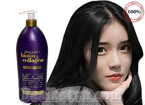 Dầu gội Biotin Collagen 750ml (Thick & Full) OGX trị rụng tóc số 1 của Mỹ được chiết xuất hoàn toàn từ thảo dược thiên nhiên gồm các tinh chất collagen, ProVitamin B7, biotin và các dưỡng chất cần thiết khác cho tóc. Giá 375.000đ.