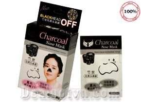 Miếng dán lột mụn mũi Charcoal Nose mask với thành phần than hoạt tính có khả năng hấp thụ tạp chất, lấy đi mụn cám, mụn đầu đen, tế bào chết, làm sạch sâu lỗ chân lông, giúp cánh mũi láng mịn. Hộp 10 gói  giá 59.000đ.
