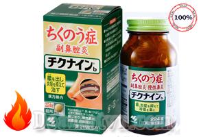 Viên uống điều trị viêm xoang mãn tính Chikunain của Nhật Bản hỗ trợ điều trị: Viêm mũi xoang do dị ứng, viêm mũi xoang vận mạch, viêm mũi xoang nhiễm khuẩn, viêm mũi mãn tính do thuốc xịt mũi, viêm mũi do nội tiết và polyp mũi hoặc VA (sùi vòm họng)…Giá 520.000đ