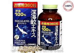 Sụn vi cá mập Orihiro Squalene chính hãng Nhật được chiết xuất từ sụn cá mập đông khô chứa dầu gan cá mập 96% hỗ trợ điều trị bệnh xương khớp, tốt cho tim mạch và mắt, sản phẩm chứa nhiều acid béo Omega-3 EPA giúp cải thiện làn da, sáng mắt…Giá 610.000đ.