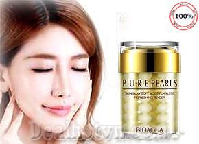 Pure Pearls Bioaqua hàng chính hãng chiết suất từ tinh khiết ngọc trai giúp chăm sóc da làm trắng giữ ẩm chống nhăn, tái tạo làn da bị chảy xệ được nâng trong vòng 28 ngày. Giá 100.000đ.