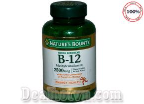 Viên Uống Nature's Bounty Vitamin B12 2500 Mcg hàng nhập khẩu từ Mỹ  hương Cherry giúp tăng cường hoạt động não, giảm Stress căng thẳng mệt mỏi, tăng sức khỏe cho tim… Giá 400.000đ