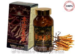 Viên đông trùng hạ thảo Royal Gold nhập khẩu từ Nhật Bản chiết xuất từ Đông Trùng Hạ Thảo bổ sung nấm linh chi đỏ tác dụng tăng cường sức khỏe, bảo vệ gan, tim, thận, tốt cho người già ăn uống kém, và điều trị bệnh mãn tính. Giá 1.480.000đ