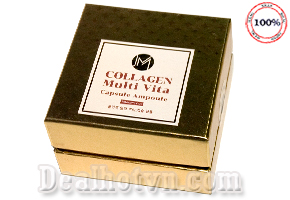 Viên Collagen tươi Ammud Multi Vita Ampoule chính hãng Hàn Quốc giúp bổ sung collagen, vitamin A,C,E và nhiều tinh chất thiên nhiên giúp dưỡng da căng bóng khỏe mạnh, làm giảm nếp nhăn, lão hóa, mờ vết thâm, cho làn da rạng rỡ, tươi trẻ. Giá 275.000đ