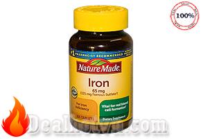 Viên uống bổ sung sắt Nature Made Iron 65mg 365 viên hàng nhập từ Mỹ, giúp bổ sung lượng sắt cần thiết cho cơ thể, duy trì hoạt động của hệ thống miễn dịch, và các cơ bắp. Giá 380.000đ.